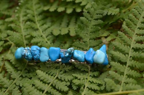 Blue Magnesite Turquenite Stones French Barrette Hair Clip
