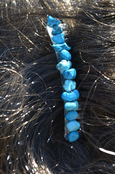 Blue Magnesite Turquenite Stone Hair Combs (Quantity of 2)