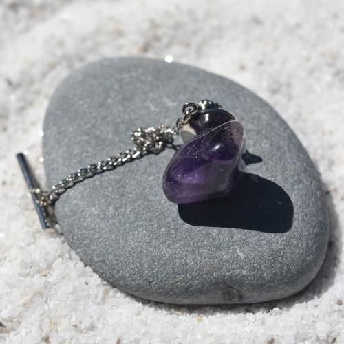 Custom Purple Amethyst Stone Tie Tack Handmade - Quantity of 1
