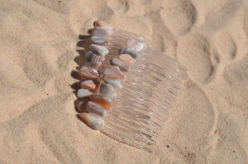 Pink Botswana Agate Stone Hair Combs (Quantity of 2)