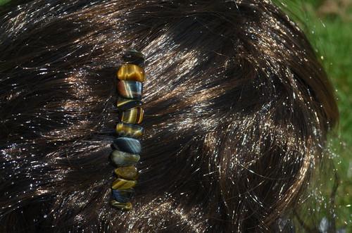 Tiger's Eye Stone Hair Combs