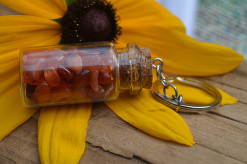 Carnelian Stones in a Glass Vial Keychain