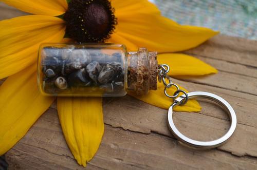 Turritella Stones in a Glass Vial Keychain