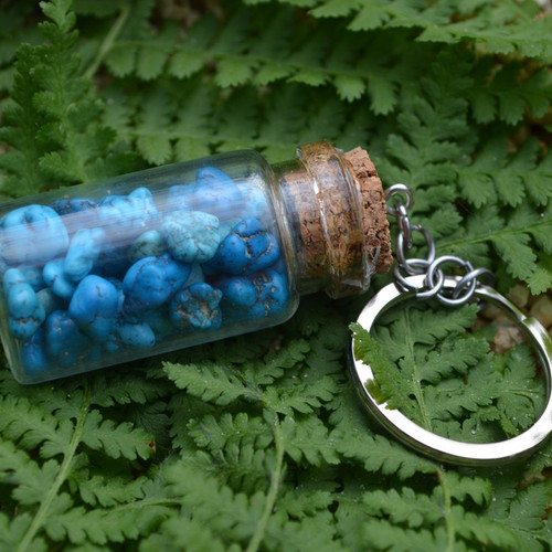 Blue Magnesite Turquenite Stones in a Glass Vial Keychain