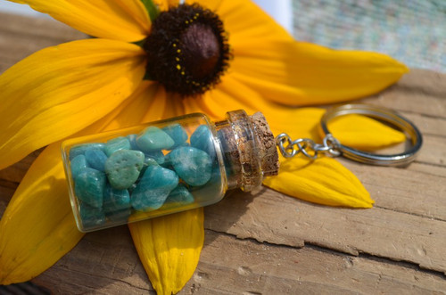 Tumbled Amazonite Stones in a Glass Vial Keychain