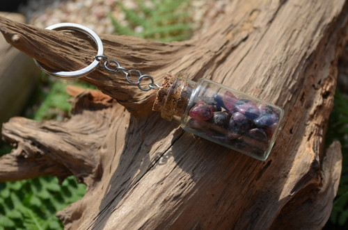 Rhodonite Stones in a Glass Vial Keychain