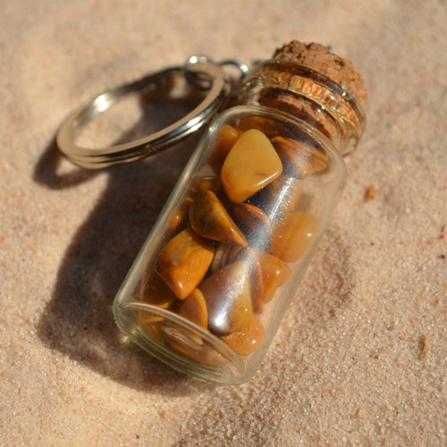 Yellow Jasper Stones in a Glass Vial Keychain