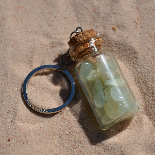 Tumbled Prehnite Stones in a Glass Vial Keychain