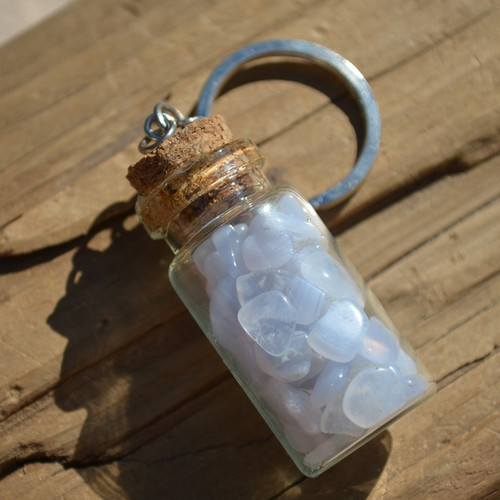 Blue Lace Agate Stones in a Glass Vial Keychain