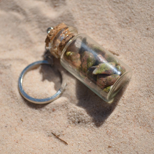 Tumbled Unakite Jasper Stones in a Glass Vial Keychain
