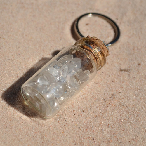 Clear Crystal Quartz Stones in a Glass Vial Keychain