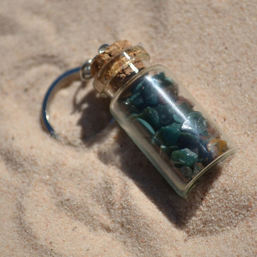 Bloodstones in a Glass Vial Keychain
