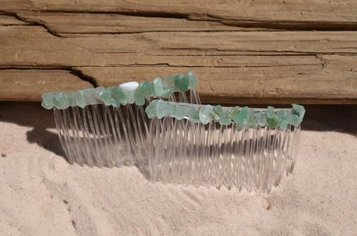 Tumbled Green Quartz Stone Hair Combs
