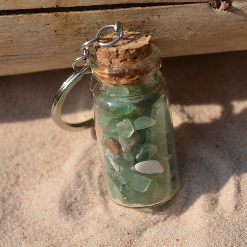 Green Quartz Stones in a Glass Vial Keychain