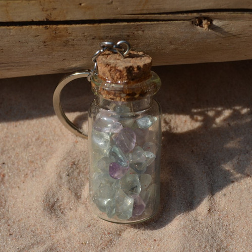 Fluorite Stones in a Glass Vial Keychain