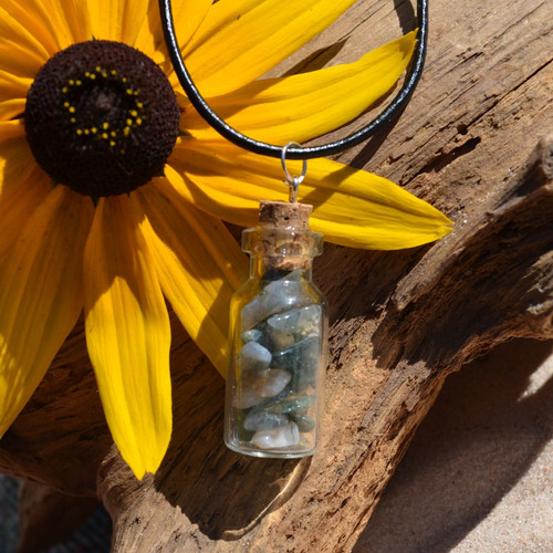 Moss Agate Stones in a Glass Vial on a Leather Cord Necklace