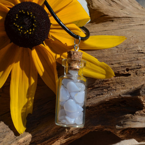 Blue Lace Agate Stones in a Glass Vial on a Leather Cord Necklace