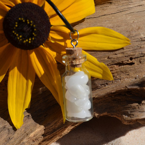 Snow Quartz Stones in a Glass Vial on a Leather Cord Necklace