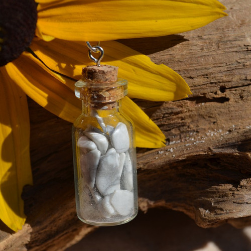 White Howlite Stones in a Glass Vial on a Leather Cord Necklace