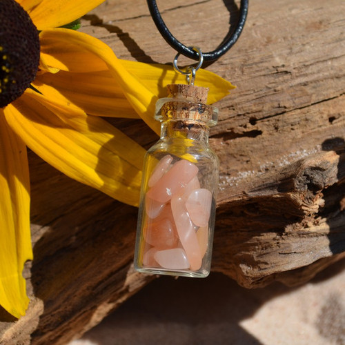 Sunstones in a Glass Vial on a Leather Cord Necklace