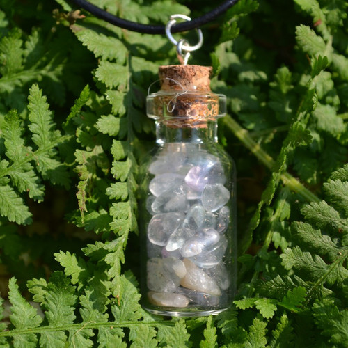 Fluorite Stones in a Glass Vial on a Leather Cord Necklace
