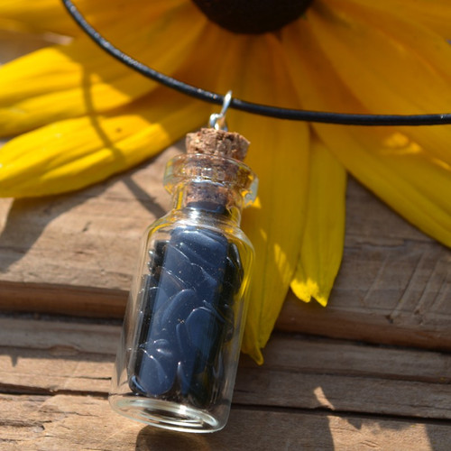 Apache Tears Stones in a Glass Vial on a Leather Cord Necklace