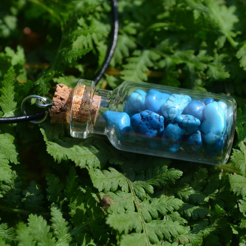 Magnesite Turquenite Stones in a Glass Vial on a Leather Cord Necklace