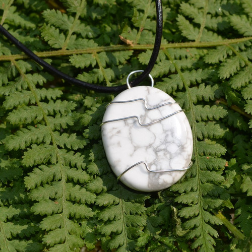 White Howlite Palm Stone Hand Wire Wrapped on a Leather Thong Necklace