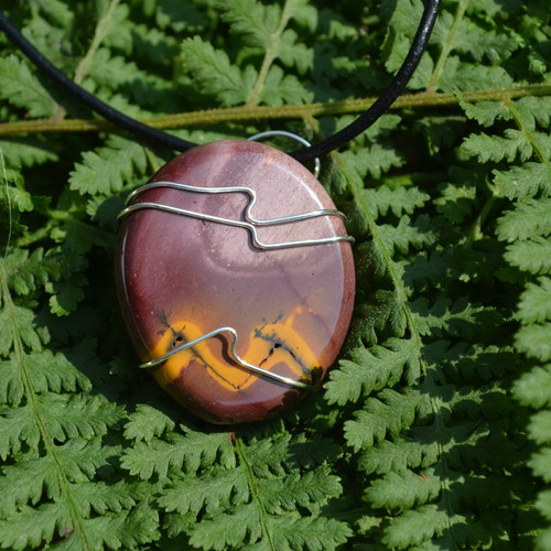 Mookaite Jasper Palm Stone Hand Wire Wrapped on a Leather Thong Necklace