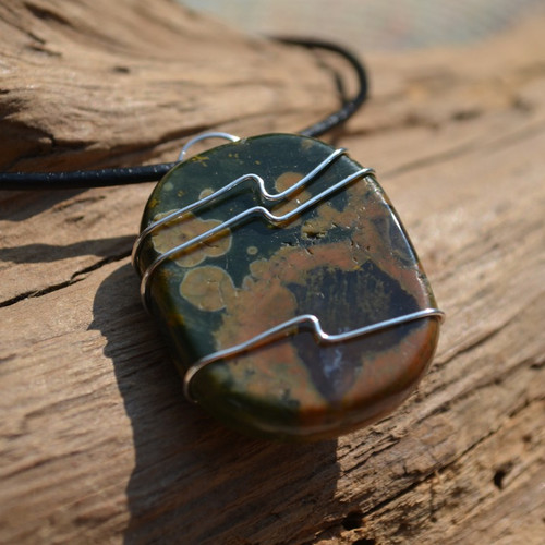 Rhyolite Palm Stone Hand Wire Wrapped on a Leather Thong Necklace