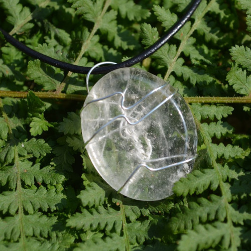 Crystal Quartz Palm Stone Hand Wire Wrapped on a Leather Thong Necklace