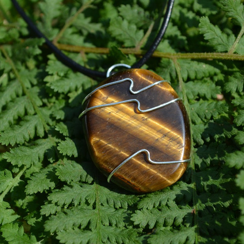 Gold Tiger's Eye Palm Stone Hand Wire Wrapped on a Leather Thong Necklace