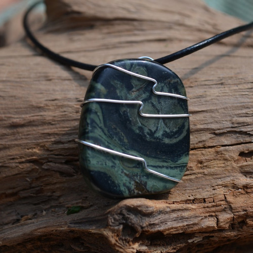 Kambaba Jasper Palm Stone Hand Wire Wrapped on a Leather Thong Necklace