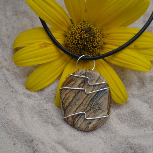 Picture Jasper Palm Stone Hand Wire Wrapped on a Leather Thong Necklace
