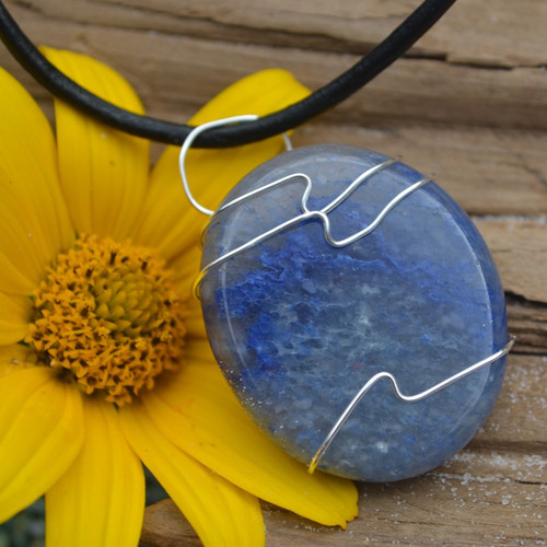 Blue Aventurine Palm Stone Hand Wire Wrapped on a Leather Thong Necklace