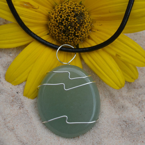 Green Aventurine Palm Stone Hand Wire Wrapped on a Leather Thong Necklace