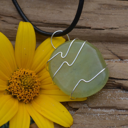 Jade Palm Stone Hand Wire Wrapped on a Leather Thong Necklace