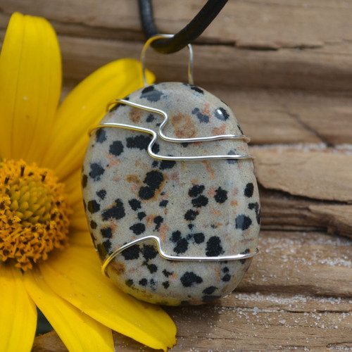 Dalmatian Jasper Palm Stone Hand Wire Wrapped on a Leather Thong Necklace