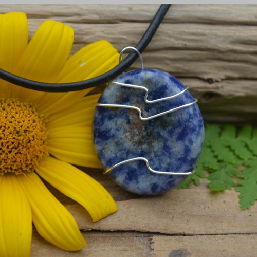 Sodalite Palm Stone Hand Wire Wrapped on a Leather Thong Necklace