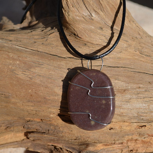 Purple Aventurine Palm Stone Hand Wire Wrapped on a Leather Thong Necklace