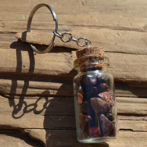 Brecciated Jasper Stones in a Glass Vial Keychain