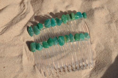 Amazonite Stone Hair Combs