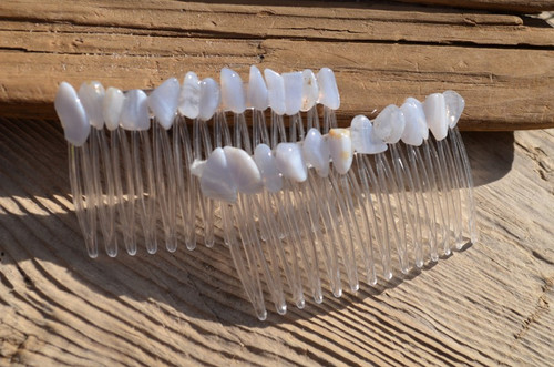Blue Lace Agate Stone Hair Combs