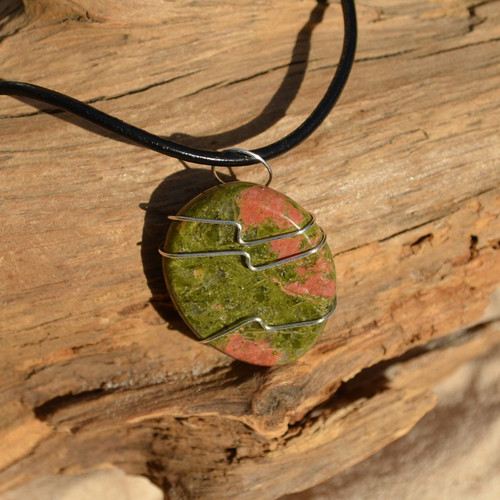 Unakite Jasper Palm Stone Hand Wire Wrapped on a Leather Thong Necklace