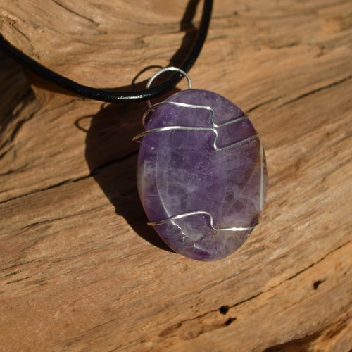 Amethyst Palm Stone Hand Wire Wrapped on a Leather Thong Necklace