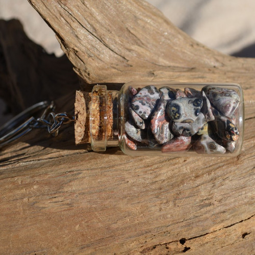Leopard Skin Jasper Stones in a Glass Vial Keychain