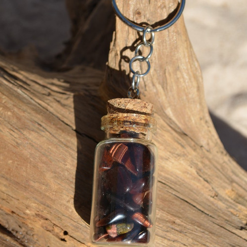 Red Tiger's Eye Stones in a Glass Vial Keychain