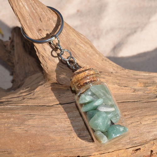 Green Aventurine Stones in a Glass Vial Keychain