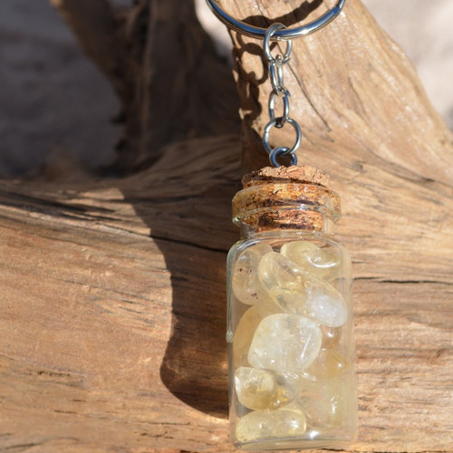 Citrine Stones in a Glass Vial Keychain