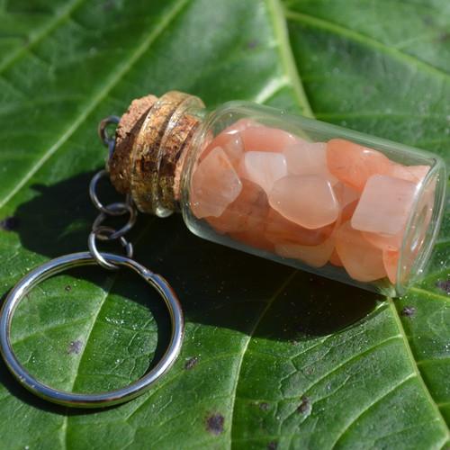 Peach Quartz Stones in a Glass Vial Keychain